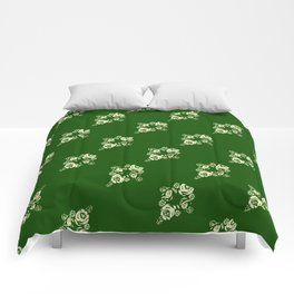 Canalflowers on green pattern Comforters