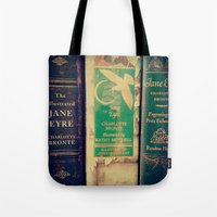 jane eyre Tote Bags featuring Jane Eyre by Apples and Spindles