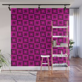 Chess pink squares dark stars with flowers. Wall Mural
