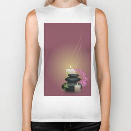 Pebbles with orchid Biker Tank