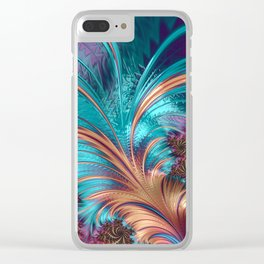 Feather Fractal Art Clear iPhone Case