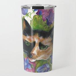 Calico Flower Cat Travel Mug