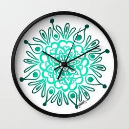 Turquoise Mandala Wall Clock