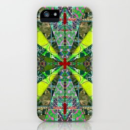 number 238 green on green with red pattern iPhone Case