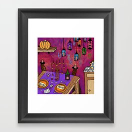 Autumn Table in Candlelight Framed Art Print