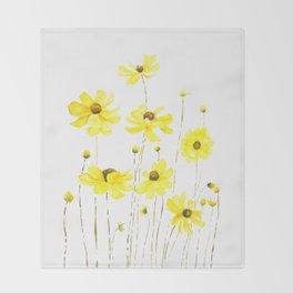 yellow cosmos flowers watercolor Throw Blanket