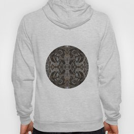 Curves & lotuses, black, brown and taupe Hoody