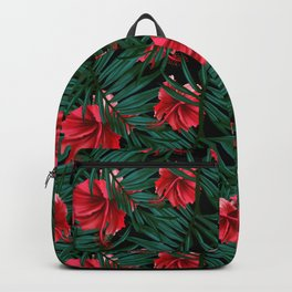 Tropical leaves and flower of hibiscus Backpack