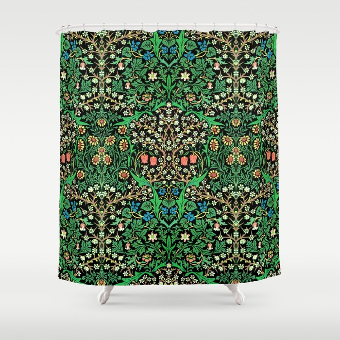 William Morris Jacobean Floral Black Background Shower Curtain