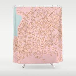 Pink Port au Prince map Shower Curtain