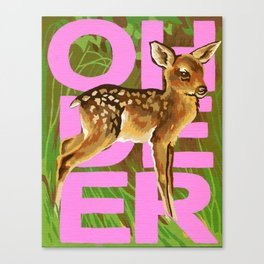 Vintage Paint By Number PBN Baby Oh Deer Canvas Print