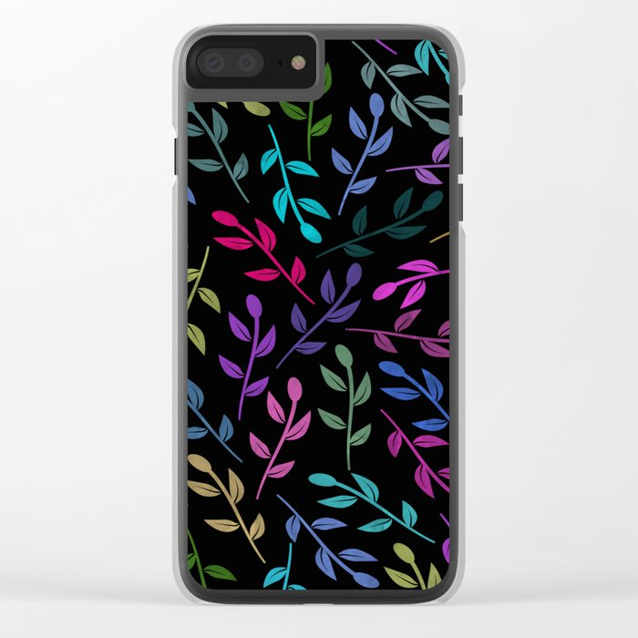 Colorful Leaves V Clear iPhone Case