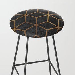 Charcoal and Gold - Geometric Textured Cube Design I Bar Stool