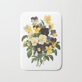 Bouquet of violets flower   Vintage Redoute Flower Hand drawn Illustrations  Bath Mat