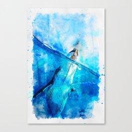 Ocean Blue Whale - vintage watercolor painting effect Canvas Print