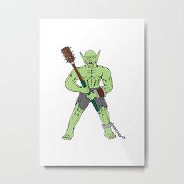 Orc Warrior Wielding Club Cartoon Metal Print