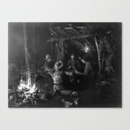 Vintage Adirondacks: Playing Cards by the Campfire Canvas Print