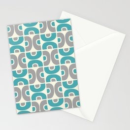 Funky Mid Century Modern Pattern 554 Gray and Turquoise Stationery Cards