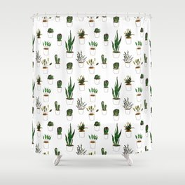Green plants in white pots Shower Curtain
