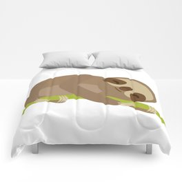 funny and cute Three-toed sloth on green branch Comforters
