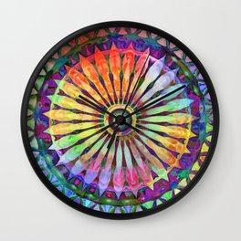 Color the World Flower Kaleidoscope Yellow Wall Clock