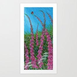 Foxglove Hedgerow Miniature Art Print