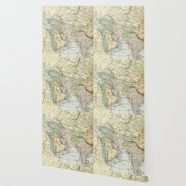 Asian Russian European African Vintage Map Wallpaper