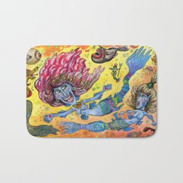 Blue-Finned Mermaids watercolor Bath Mat