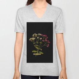 Silene Armeria Mary Delany Floral Paper Collage Delicate Vintage Flowers Unisex V-Neck