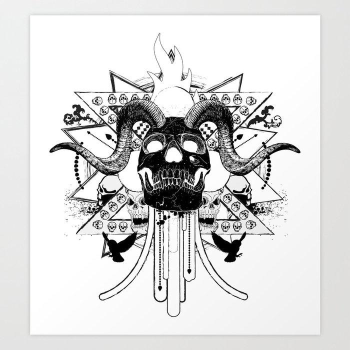 Rock Horned Skull Graphic  Art Print