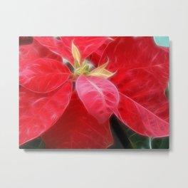 Mottled Red Poinsettia 2 Metal Print