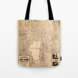 Map Of Lake Tahoe 1874 Tote Bag