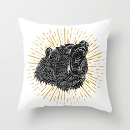 Bear Attack Throw Pillow
