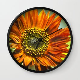 Orange Sunflower Wall Clock