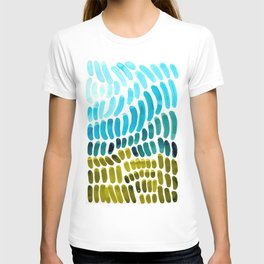 Complementary colors Blue Green Watercolor Natural Pattern Colorful Mid Century Modern Art T-shirt
