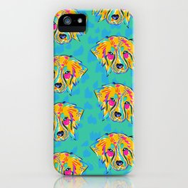 Bright Dog Pattern | Blue iPhone Case
