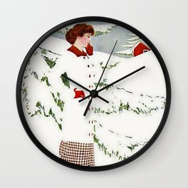 "C Coles Phillips 'Fadeaway Girl' ""Winter Snowscape"" Wall Clock"