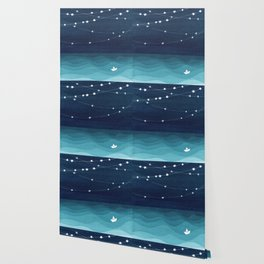 Garlands of stars, watercolor teal ocean Wallpaper