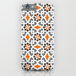 black, white, grey, orange -  Oriental design - orient  pattern - arabic style geometric mosaic iPhone Case