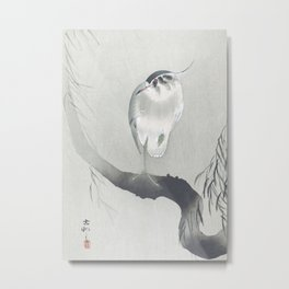 Heron Sitting on a Willow Tree - Vintage Japanese Woodblock Print Art Metal Print