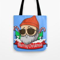murray Tote Bags featuring Murray christmas by KickPunch