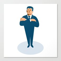 businessman secret agent arms crossed Canvas Print