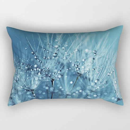 Drops sparkling on a Dandelion- Abstract blue close-up Rectangular Pillow