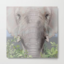 Foraging Elephant Metal Print