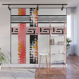Vintage .Art . Intertwining colored bands . Wall Mural