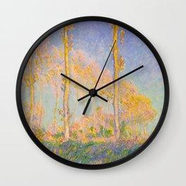 Claude Monet Impressionist Landscape Oil Painting Claude Monet French Poplars Pastel Romantic Colors Wall Clock