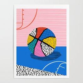 Dish - memphis art print, basketball art print, sports art print, 80s art prints, retro art Poster