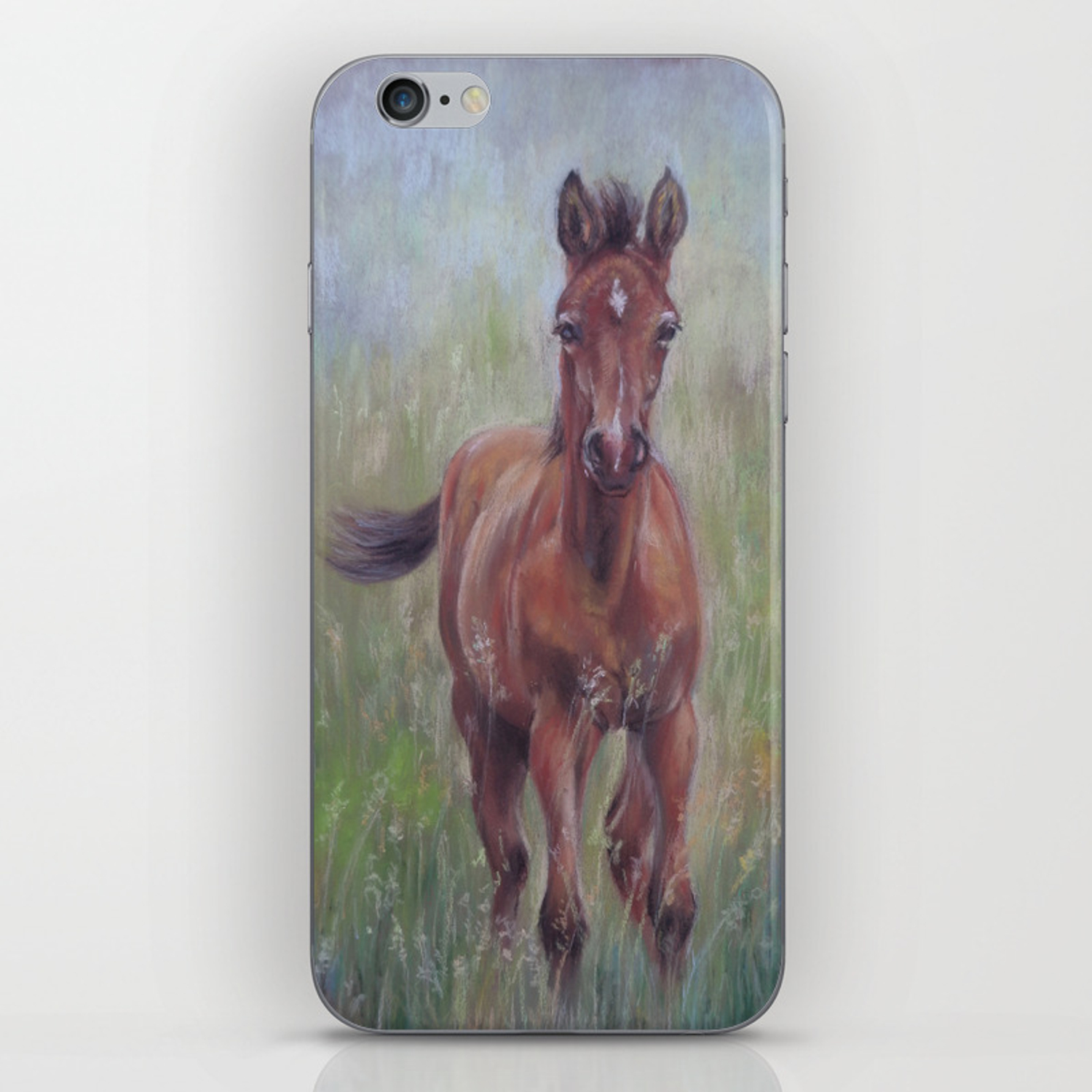 Baby Horse Foal In The Spring Meadow Cute Horse Portrait Pastel Drawing Iphone Skin By Canisart Society6