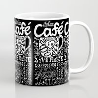 italian Mugs featuring Italian Cafe by Geryes