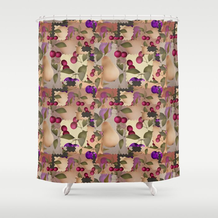 Old Scraps Of Fabric With Fruit Shower Curtain By Fuzzyfox85